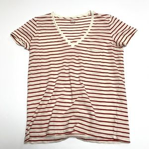 Madewell Whisper Cotton Stripe V Neck Tee Shirt XS